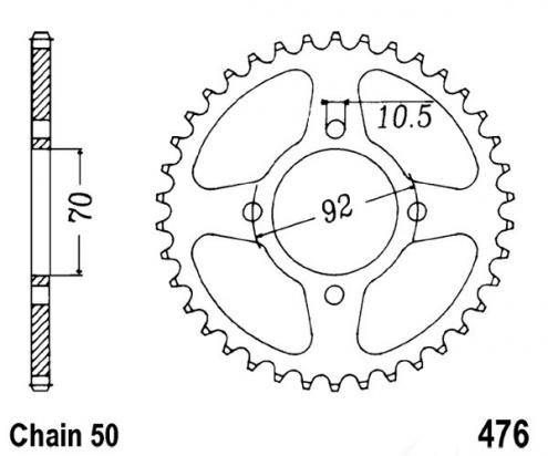 Picture of Kawasaki Z 250 A3 81 Sprocket Rear - JT