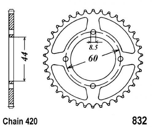 Picture of Sprocket Rear Less 3 Teeth - JT (Check Chain Length)