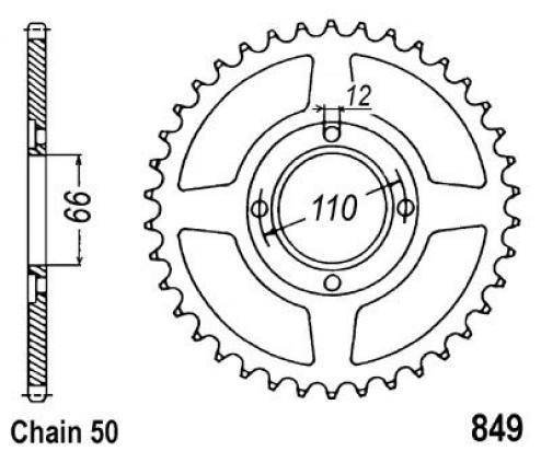 849-38 Steel Yamaha RD250,RD400 Spoke Wheel 1976-1979 [AA1470]