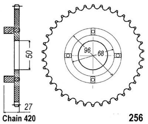 Picture of Honda CT 70 73 Sprocket Rear Less 2 Teeth - JT (Check Chain Length)