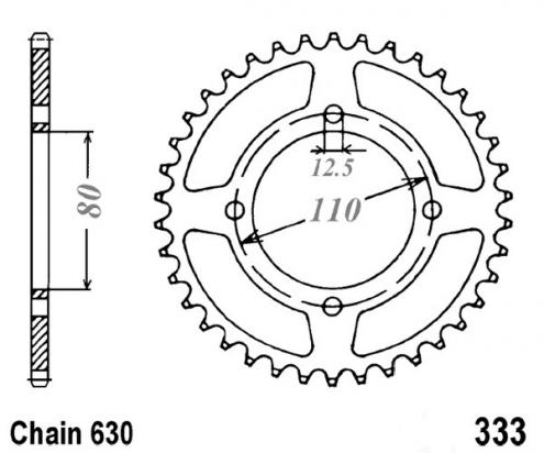 Picture of Honda CB 750 KZ 79-82 Sprocket Rear Plus 3 Teeth - JT (Check Chain Length)