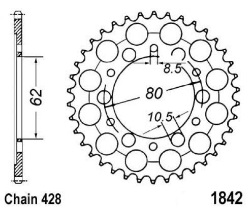 Picture of Yamaha YZ 80 H 81 Sprocket Rear Plus 1 Tooth - JT (Check Chain Length)