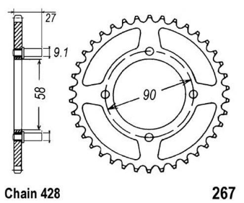 Honda Cd 175 T4 Vertical Engine Vin From 3014668 70 78 Sprocket