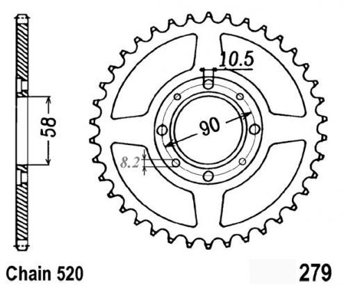 1 Two Fifty Mc26 92 03 Sprocket Rear