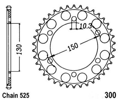 Picture of Yamaha TRX 850 96 Sprocket Rear Plus 3 Teeth - JT (Check Chain Length)
