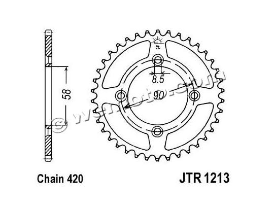 Picture of Sprocket Rear Plus 2 Teeth - Pattern (Check Chain Length)
