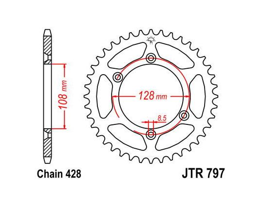 Picture of Kawasaki KLX 125 A6F 06 Sprocket Rear - JT