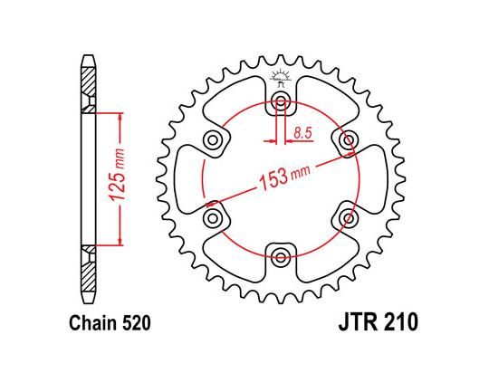 Picture of Honda CR 125 RZ 79 Sprocket Rear Plus 2 Teeth - JT (Check Chain Length)