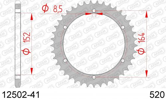 Picture of Sprocket Rear Plus 1 Tooth - Afam (Check Chain Length)