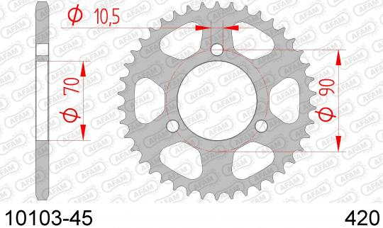 Picture of Sprocket Rear Plus 3 Tooth - Afam (Check Chain Length)