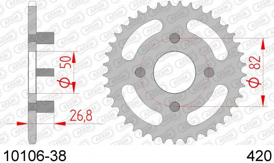 Sprocket Rear Plus 3 Tooth - Afam (Check Chain Length)