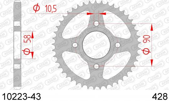 Sprocket Rear Plus 1 Tooth - Afam (Check Chain Length)