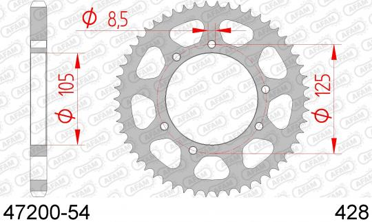 Picture of Rieju Marathon Pro 125 10 Sprocket Rear Less 2 Tooth - Afam (Check Chain Length)