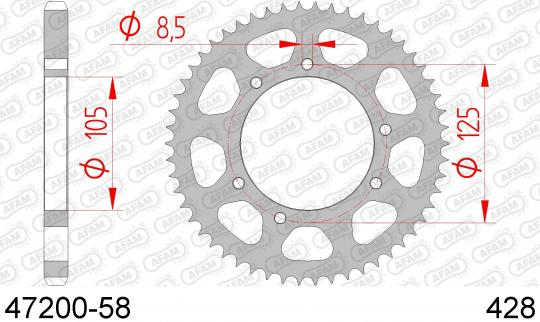 Picture of Sprocket Rear Less 2 Tooth - Afam (Check Chain Length)
