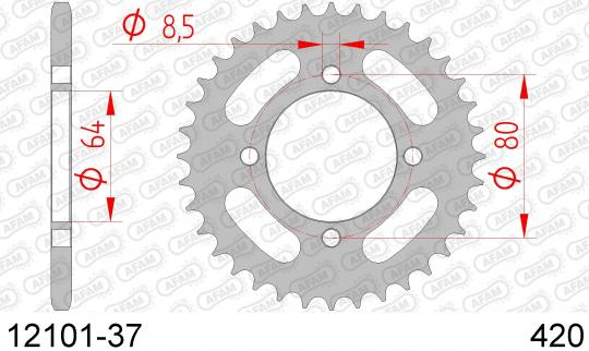 Picture of Sprocket Rear Plus 2 Tooth - Afam (Check Chain Length)