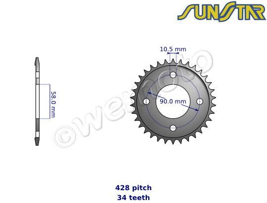 SunStar Sprocket Rear - Steel - Less 3 Teeth