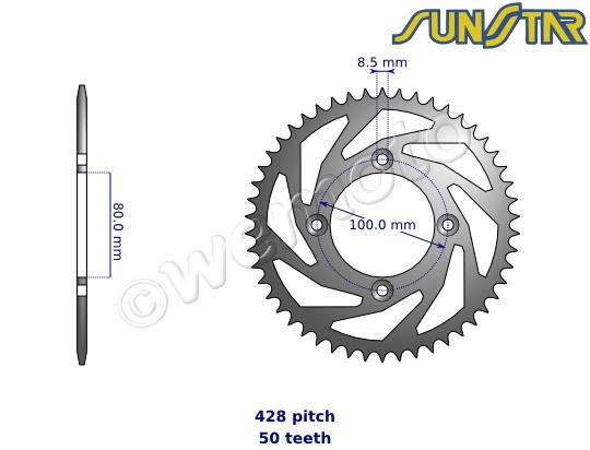 Picture of Honda XR 100 R J/K/L/M 88-91 SunStar Sprocket Rear - Steel