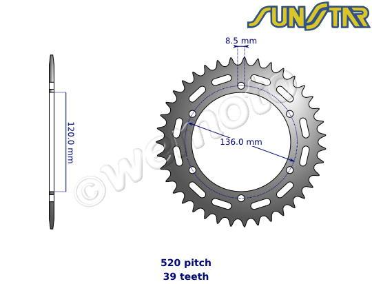 Picture of SunStar Sprocket Rear - Steel - Less 2 Teeth