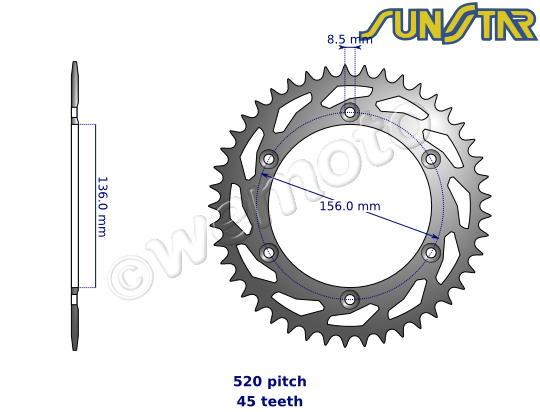 Picture of SunStar Sprocket Rear - Steel - Less 3 Teeth