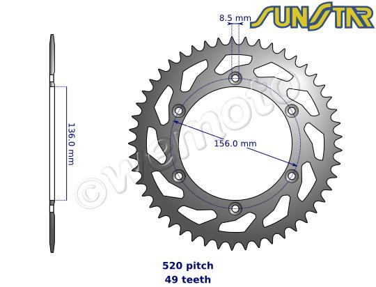 Picture of SunStar Sprocket Rear - Steel - Less 1 Tooth
