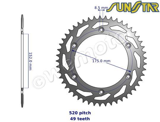 Picture of SunStar Sprocket Rear - Steel - Plus 1 Tooth