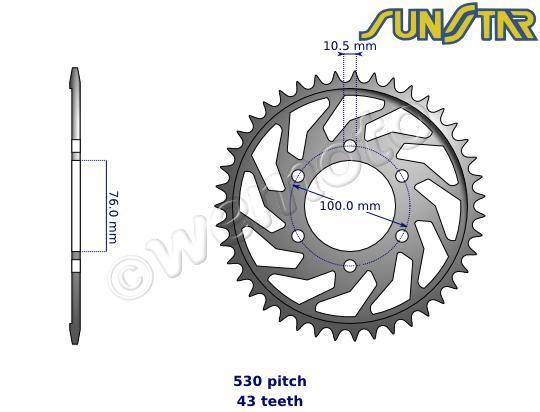 suzuki gsxr 750 wn 92 sunstar sprocket rear - steel - plus 1 tooth parts at wemoto
