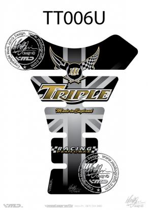 Picture of Tank Pad Triumph Style Pedigree Racing Sport Motografix, Approx. Size H=22cm/W=17cm