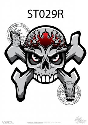 Picture of Tank Pad Streetfighter Skull and Crossbones Tankpad, Approx. Size H=17cm, L=17cm