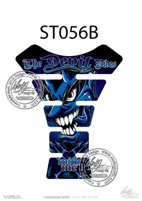 Picture of Tank Pad Streetfighter THE DEVIL RIDES BLUE H=22cm/W=17cm