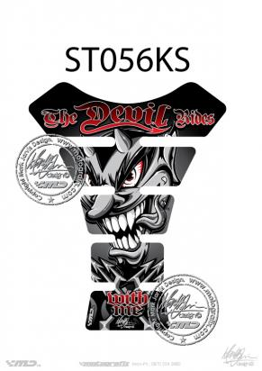 Picture of Tank Pad Streetfighter THE DEVIL RIDES BLACK/SILVER, H=22cm/W=17cm