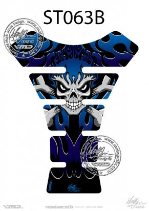 Picture of Tank Pad Streetfighter SKULL BONES FLAMES BLUE H=22cm/W=17cm