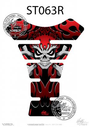 Picture of Tank Pad Streetfighter SKULL BONES FLAMES RED H=22cm/W=17cm