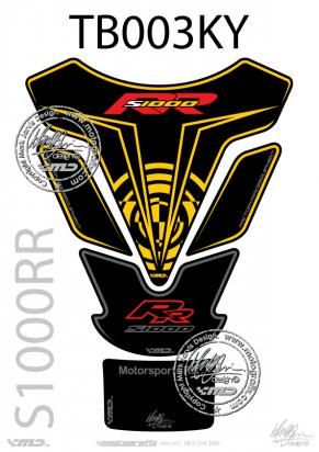 Picture of BMW S1000RR Black/Yellow Tankpad 09-11, Approx. Size H=25cm/W=18cm