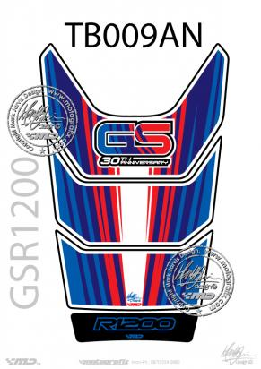 Picture of BMW GS R1200 Motorsports White Red And Blue Tankpad, Approx. Size H=28cm/W=18cm