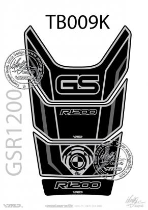 BMW GS R1200 Motorsports Black Grey and Silver Tankpad, Approx. Size H=28cm/W=18cm