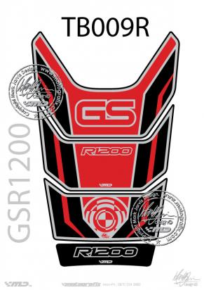 Picture of BMW GS R1200 Motorsports Red Black and Silver Tankpad, Approx. Size H=28cm/W=18cm