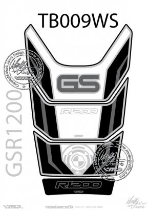 BMW GS R1200 Motorsports White Silver And Black Tankpad, Approx. Size H=28cm/W=18cm