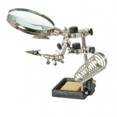 Picture of Helping Hands with Magnifying Glass for Soldering - Heavy Duty